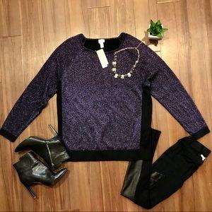 Chico's Colorblock Shine Purple Sweater Sz: L (3)